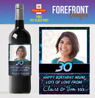 Personalised PHOTO Wine Bottle Label Perfect 18th/21st/30th/40th/ Birthday gift