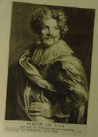 "Künstler/-Atelierszene: Kupferstich nach A. van Dyck ""Simon de Vos"""