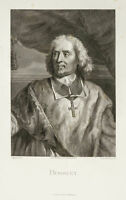 1878 - Retrato de Bossuet Jacques-Bénigne. Grabado De Ferdinand Davis