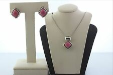 Stone Earring & Pendant Set Sterling Silver 925 Pink Marble