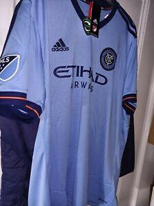 New York City Football Club NYCFC Etihad Airways soccer Jersey shirt MLS NY 2XL.