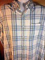 Timberland 2XL White Button Front Short Sleeve Plaid Shirt