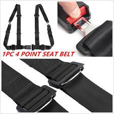 1PC 4 Point Retractable Adjustable Car Safety Seat Lap Belts Harness Kit Black