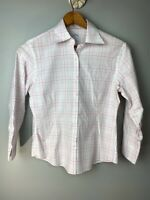 Brooks Bothers Women's Size 6 White Plaid Blouse Fitted Non Iron Cuffed