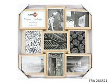 6 X Multi-picture Collage Photo Picture Frame Natural Wood Fits 9 Photos 5x7""