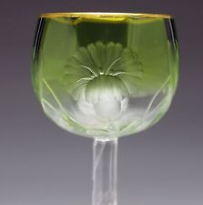 INCREDIBLE and RARE Antique Moser Green & Clear Cut Engraved Wine Glass Stem
