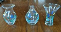 """HANDPAINTED floral mini bud vases 3"""" tall blue and yellow"""