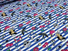 Stoffrest 15x150cm Baumwolle French Terry Streifen Anker Herzen Kirschen blau