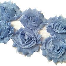"""1 yard dusty blue 2.5"""" shabby chiffon rose trim flowers DIY baby headband"""
