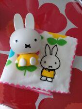 Japan Miffy Yellow Plastic Figure & Cotton Mini Towel set)