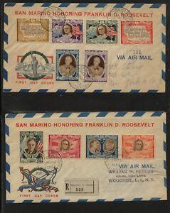 San  Marino   2  nice  Roosevelt  covers   1947    1948