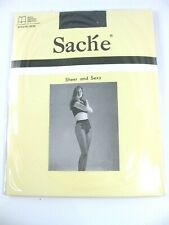 Sache Sheer Pantyhose with Woven Lace Panty Panel Nylons Hosiery 191140 Black
