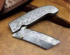 Acier de Damas couteau DAMASCUS Folding Knife Hand Engraved Xmas Gift F7-ENG