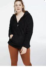 New Victorias Secret Pink Half Zip Teddy Sherpa Pullover Jacket Hoodie Black XS