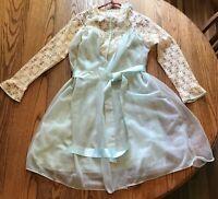 Vintage Womens Large Peignoir Gown Robe Set Aqua Chiffon Size 6-8