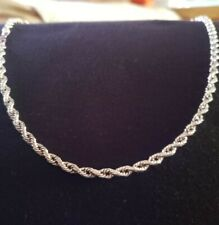 4MM 10K REAL White Gold Diamond Cut Rope Chain Necklace 20 Inches 6.8-7.0 Grams