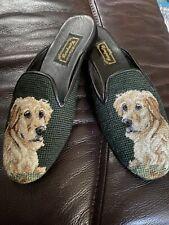 Kompany needlepoint embroidered flats mule Labrador dog sz 10
