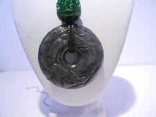 black jade dragon donut pendant / leather cord