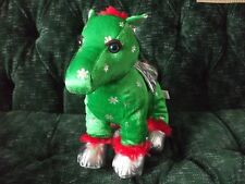 "11"" green snowflake pegasus with silver wings and feet red mane & tail"