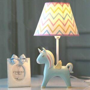 Unicorn Cartoon Table Lamp Reading Blue Cloth Lampa Study Kids Bedside Desktop