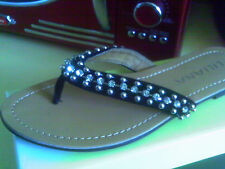 LILIANA BLACK SILVER BEAD BLING FLIP FLOP THONG SHOES 8.5 M