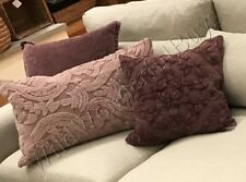 """Pottery Barn Drew Pillow Cover Fig 18"""" Embroidered Purple New"""