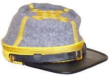 Civil War Cs Cavalry General's Leather Peak kepi, Grey/Yellow Band 4 rows Hat