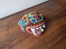 HUICHOL JAGUAR  WALL ART HAND BEADED INDIAN MASK MADE IN MEXICO INTERNATNAL SALE
