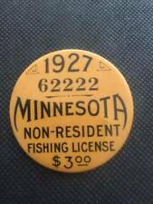 1927 Minnesota Non- Resident Fishing License Button