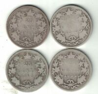 4 X CANADA 25 CENT QUARTERS VICTORIA STERLING SILVER COIN 1883H 1888 1890H 1892