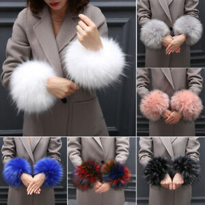 Winter Women Faux Fur Plush Cuff Oversleeve Windproof Hand Wrist Warmer Cuff UK