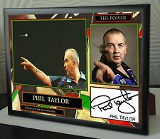 """Phil Taylor """"The Power"""" Darts Framed Canvas Print Signed 180 Collection"""