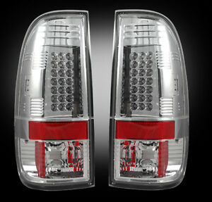 1999-2007 Ford SuperDuty & 1997-2003 F-150 Rear LED Tail Lights with Clear Lens