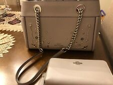 Coach F49304 Brooke Crystal Rivets Chain Carryall Handbag Grey birch & Wallet