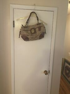 Coach Signature Peyton Sateen Canvas Leather Carryall Tote Bag Purse # 14597