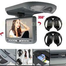 2×Headphones+9'' Overhead Flip Down Car DVD Player Game TV Monitor Roof Mount UK