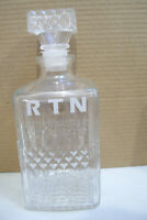 "Vintage Wine Decanter Clear Glass Bottle Liquor Rum Whiskey R T N  9"" Tall Empty"