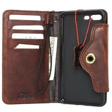 genuine retro natural leather Case full apple iphone 7 plus book wallet cover
