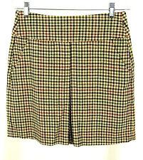 Banana Republic Skirt 2 Womens Wool Blend Check Kick Pleat Brown Green Cream