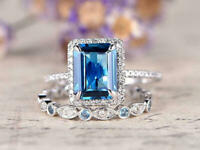 3Ct Emerald Cut Blue Sapphire Bridal Engagement Ring 14K White Gold Finish