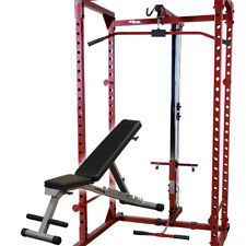 Best Fitness Power Rack Package BFPR100 rack, Lat Attach BFLA100, Bench PFID125X