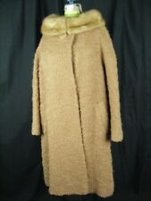 Amters Vtg 60s Brown Boucle Texture Wool Swing Coat Mink Collar-Bust 47/L-Xl