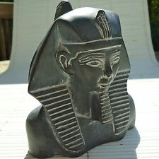 TOUTANKHAMON Sculpture Pierre Signée Artisanat Fait Main14 x12 x9 Cm - 1,042 Kgs