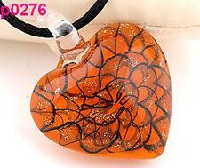 Handmade Heart Glass Art Beaded Pendant Necklace Orange Bead Black Cord HS89