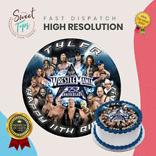 WWE ROUND EDIBLE BIRTHDAY CAKE TOPPER DECORATION PERSONALISED