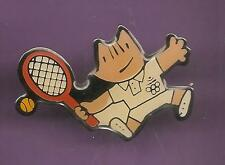 Pin's pin J.O BARCELONA 1992 JEUX OLYMPIQUES MASCOTTE COBI TENNIS (ref CL14)
