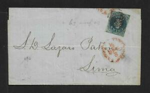 CHILE TO PERU SC# 10 COLON ON COVER 1859