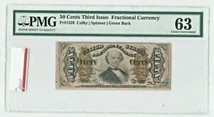 Fr 1339 THIRD ISSUE 50¢ GREEN BACK PMG 63 CHOICE UNC FRACTIONAL CURRENCY FIFTY