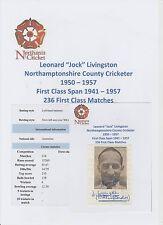 JOCK LIVINGSTON NORTHAMPTONSHIRE COUNTY CRICKETER 1950-1957 RARE HAND SIGNED