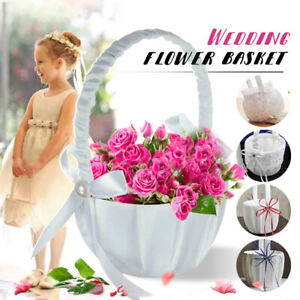 Wedding Ceremony Party Case Satin White Bowknot & Rose Flower Girl Basket Gifts